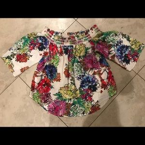 Karen Kane Bright Flowers Off Shoulder Shirt XL